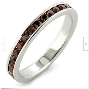Sterling Silver Garnet Eternity Ring Band Size 11
